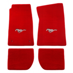 64-73 Floor Mats, Red w/Silver Pony Emblem (Coupe)