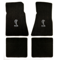79-93 Floor Mats, Black w/Cobra Emblem