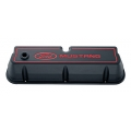 "1965-73 ALUMINUM VALVE COVERS, ""MUSTANG""- SATIN BLACK"