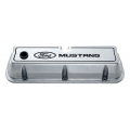 "1965-73 ALUMINUM VALVE COVERS, ""MUSTANG""- POLISHED"
