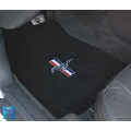 1964-73 EMBROIDERED FLOOR MATS CONVT. BLACK TRI BAR