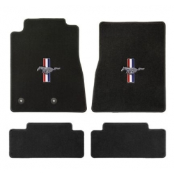 94-98 Floor mats, Black w/Pony + Bars Emblem
