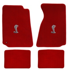 64-73 Floor Mats, Red w/Cobra Emblem (Coupe)
