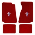 79-93 Floor Mats, Red w/Pony + Bars Emblem