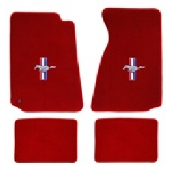 64-73 Floor Mats, Red w/Pony + Bars Emblem (Coupe)