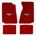 64-73 Floor mats, red w/Silver Pony emblem (Convertible)