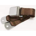 "Brown 1 Passenger 2 Point Lap Belt w/ Chrome Aviation Lift Buckle (60"")"