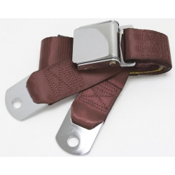"Burgundy 1 Passenger 2 Point Lap Belt w/ Chrome Aviation Lift Buckle (60"")"
