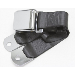 Charcoal 1 Passenger 2 Point Lap Belt w/ Chrome Aviation Lift Buckle