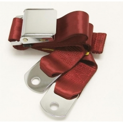 "Dark Red 1 Passenger 2 Point Lap Belt w/ Chrome Aviation Lift Buckle (60"")"