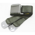 "Green 1 Passenger 2 Point Lap Belt w/ Chrome Aviation Lift Buckle (60"")"