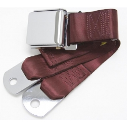 "Maroon 1 Passenger 2 Point Lap  Belt w/ Chrome Aviation Lift Buckle (60"")"