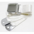 "White 1 Passenger 2 Point Lap Belt w/ Chrome Aviation Lift Buckle (60"")"