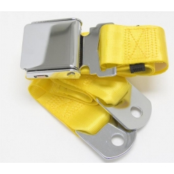 "Yellow 1 Passenger 2 Point Lap Belt w/ Chrome Aviation Lift Buckle (60"")"