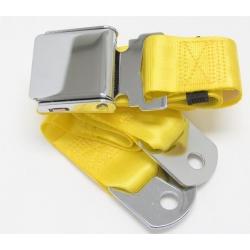 "Yellow 1 Passenger 2 Point Lap Belt w/ Chrome Aviation Lift Buckle (60"")"