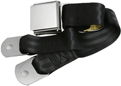"Black 1 Passenger 2 Point Lap Belt w/ Chrome Aviation Lift Buckle (60"")"