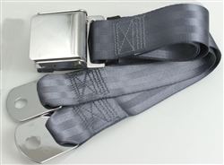 "Blue 1 Passenger 2 Point Lap Belt w/ Chrome Aviation Lift Buckle (60"")"
