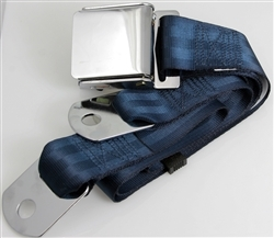 "Dark Blue 1 Passenger 2 Point Lap Belt w/ Chrome Aviation Lift Buckle (60"")"