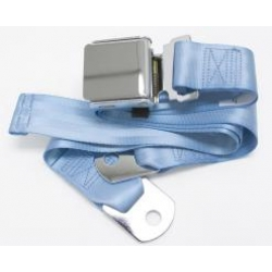 "Powder Blue 1 Passenger 2 Point Lap Belt w/ Chrome Aviation Lift Buckle (60"")"