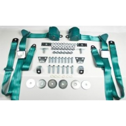 1965-73 Turquoise 2 Passenger 3 Point Seat Belt Kit (with all needed hardware)