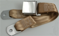 "Tan 1 Passenger 2 Point Lap Belt w/ Chrome Aviation Lift Buckle (60"")"
