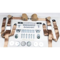 1965-73 Tan 2 Passenger 3 Point Seat Belt Kit (with all needed hardware)