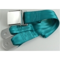 "Turquoise 1 Passenger 2 Point Lap Belt w/ Chrome Aviation Lift Buckle (60"")"