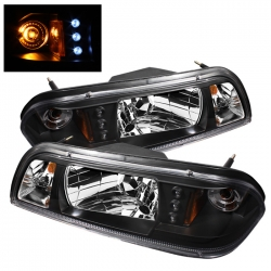 87-93 LED Crystal Headlights - Black (PAIR)