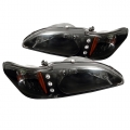 94-98 LED Amber Crystal Headlights - Black (PAIR)