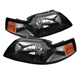 99-04 OEM Amber Headlights - Black (PAIR)