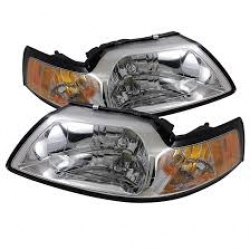 99-04 Amber Crystal Headlights - Chrome (PAIR)