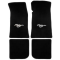 1964-1973 Floor mats, black - with silver pony emblem (convertible)