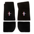 64-73 Floor Mats, black - with pony + bars emblem (convertible)