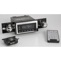 1964-66 Ford Mustang Retrosound Model One Black Am/FM Radio w/ Infinimount Bracket System