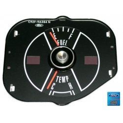1969-70 MUSTANG FUEL/TEMPERATURE GAUGE W/O TACH, Black Face.
