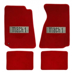 64-73 Floor mats, red w/Mach 1 emblem (Convertible)